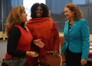 Bridgeport teachers Ana Batista and Tiffany Ladson-Lang spoke with Congresswoman Elizabeth Esty.