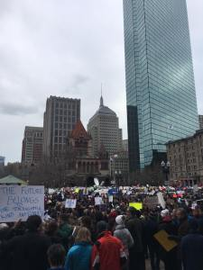 Teachers were among the many rallying in Boston yesterday.