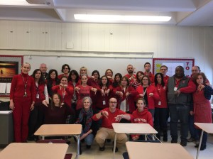 Conard High School teachers wore red