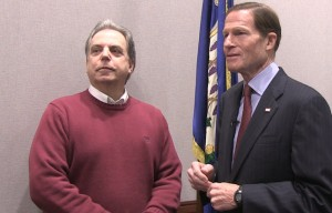 North Haven High School teacher Tom Marak talked with Senator Richard Blumenthal about his oppostion to DeVos' nomination today.